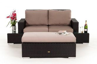 Rattan lounge braun  Space-saving Rattan Lounge, Garden, Balcony, Patio, Wicker ...